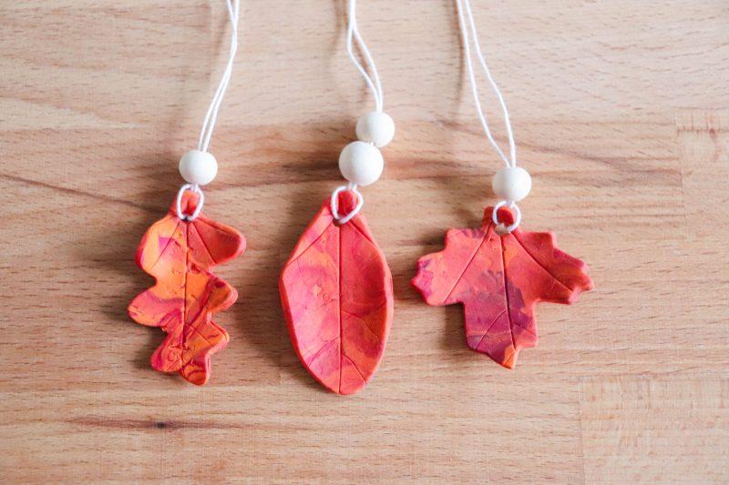 polymer clay leaf ornament