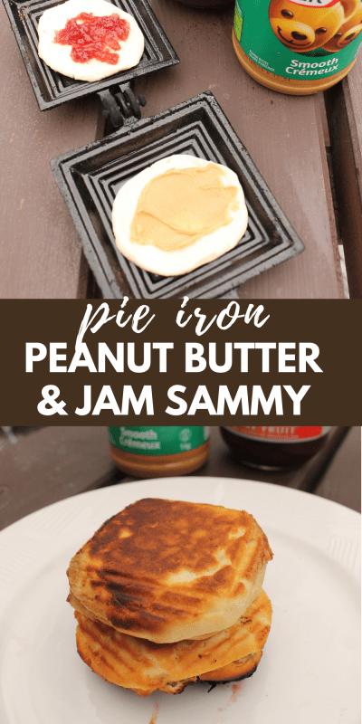 pie iron peanut butter and jam sandwich
