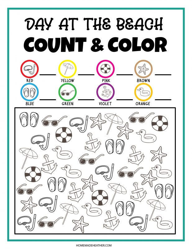 beach count and color printable