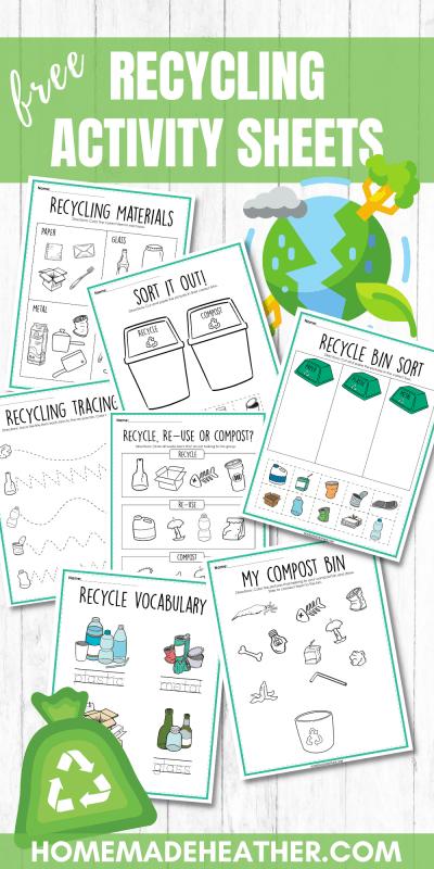 recycling printable activity sheets
