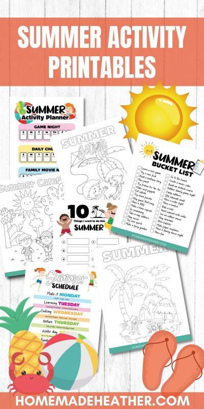 summer activity printable sheets