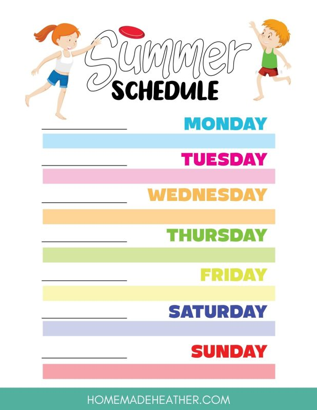 summer schedule printables