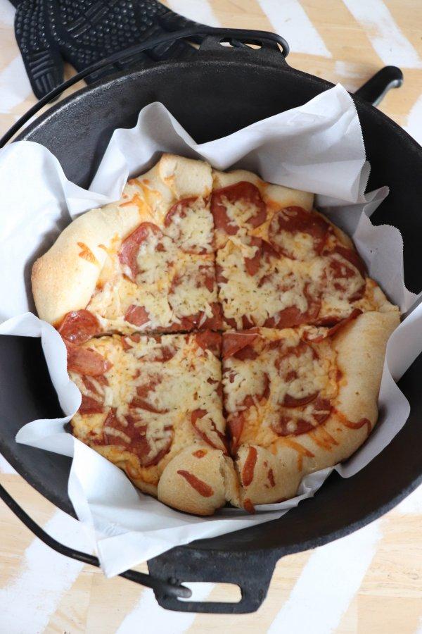 Campfire Dutch Oven Pizza Sliced