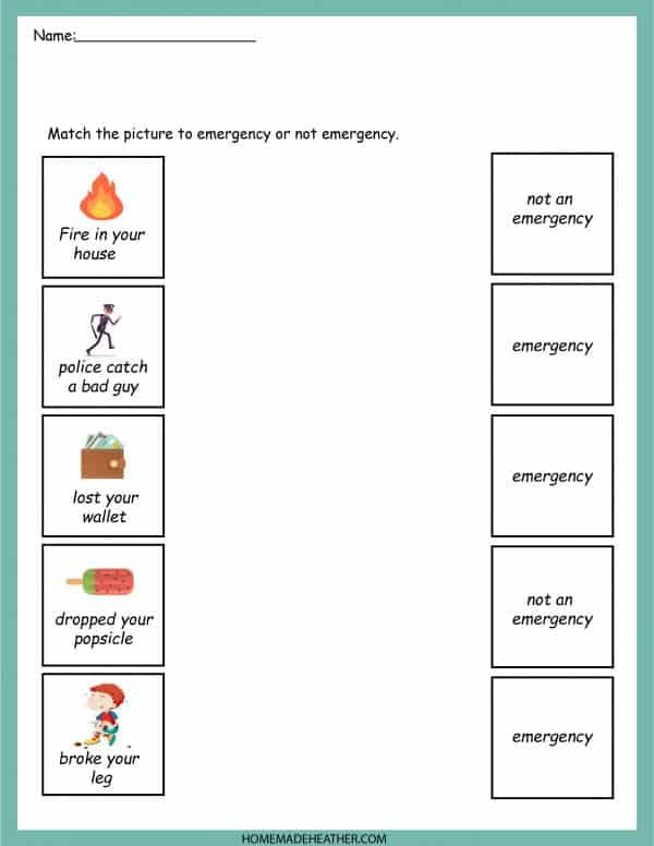 Emergency Printable Work Sheet