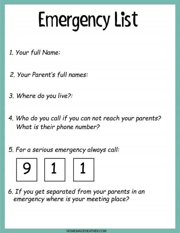 Emergency List Printable Work Sheet
