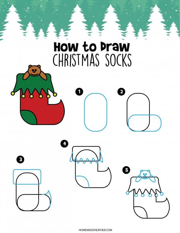 Free How to Draw Stocking Printable