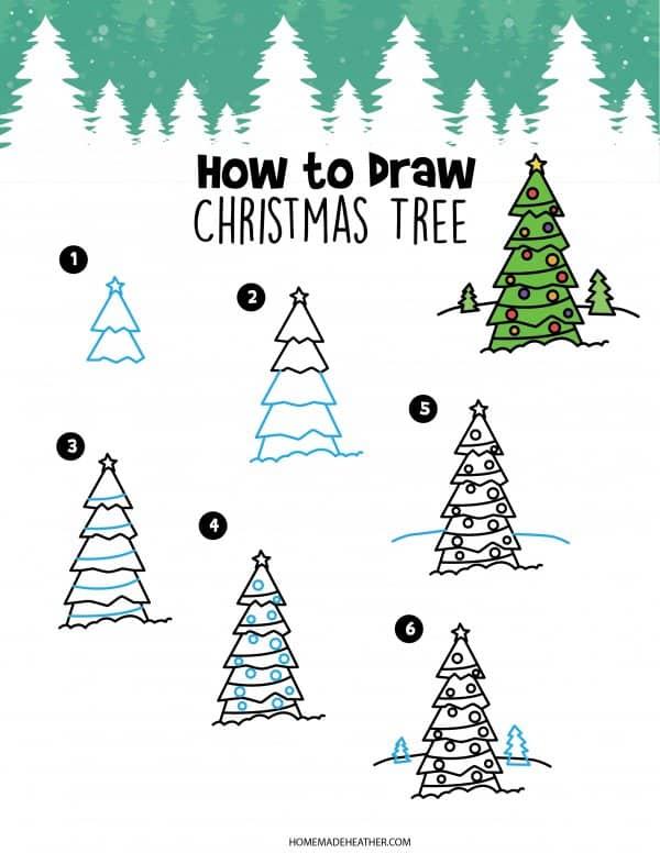 Free How to Draw Christmas Tree Printable