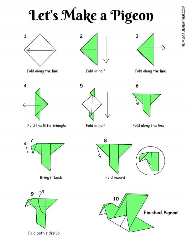 Free Origami Pigeon Printable Design