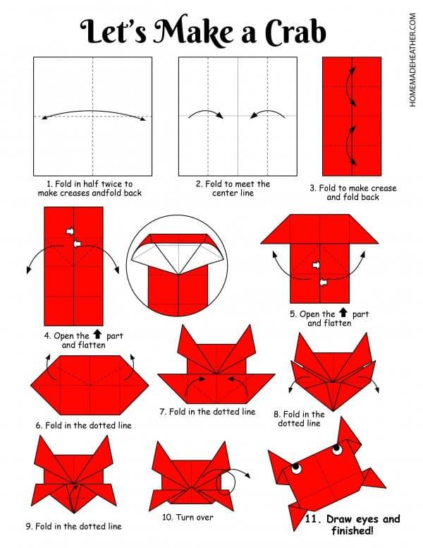 Free Origami Crab Printable Design