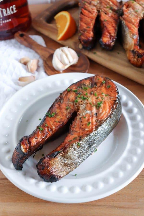 Bourbon & Brown Sugar Salmon Steaks
