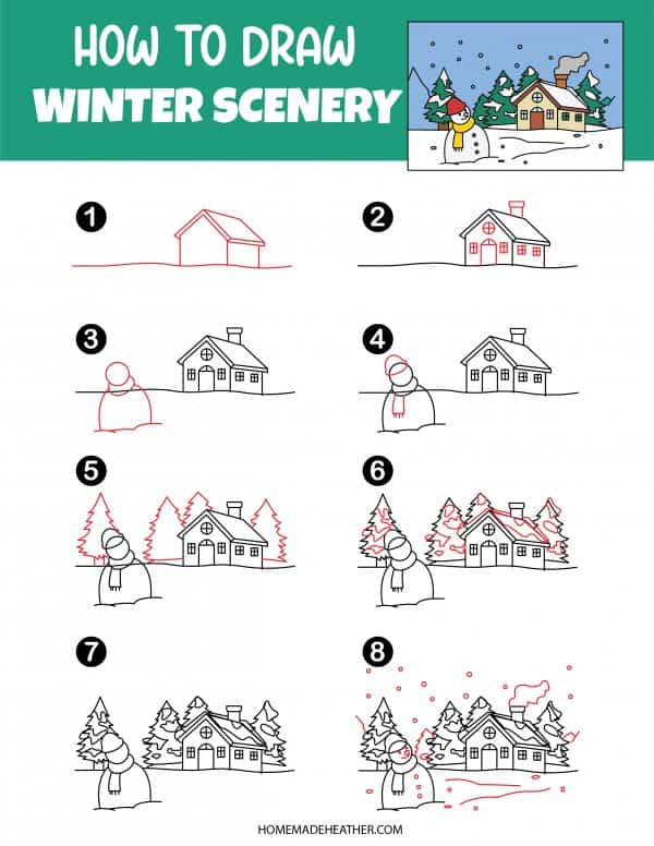 Free How To Draw Winter Scenery Printable
