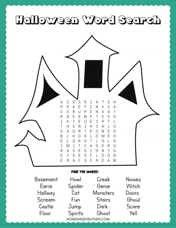 Haunted House Word Search Printable
