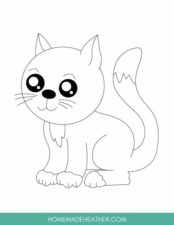 Free Cute Cat Coloring Page