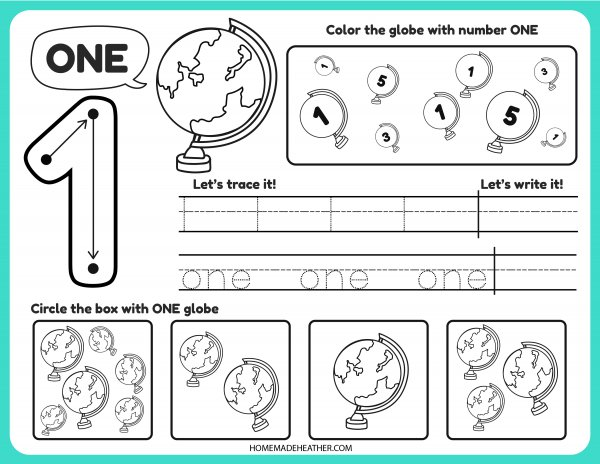 Free Number Tracing Printable One