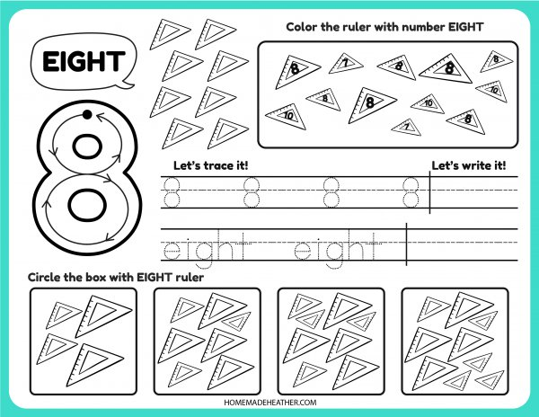 Free Number Tracing Printable Eight