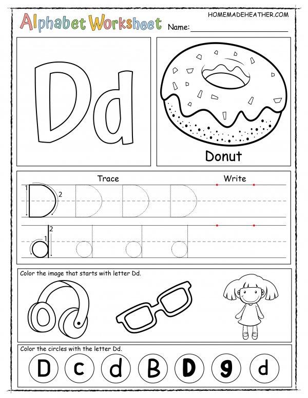 Letter D Printable Worksheet
