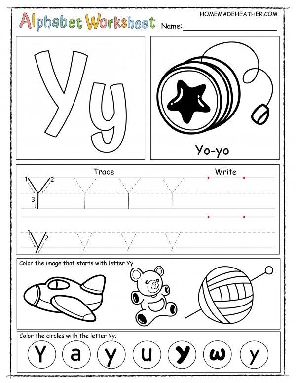 Letter Y Printable Worksheet
