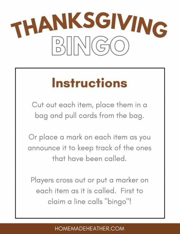 Free Thanksgiving Bingo Printable Instructions