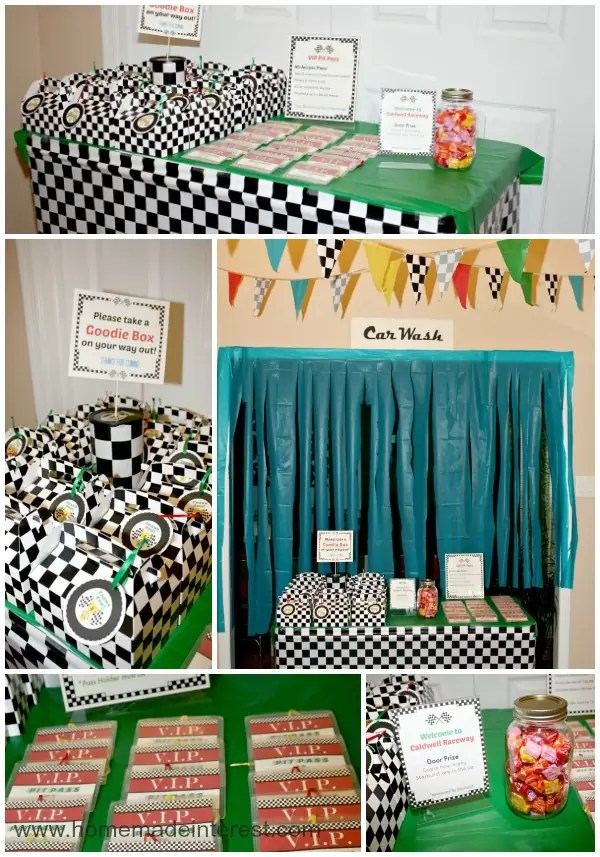 Race Car party favors, pit passes and decor.