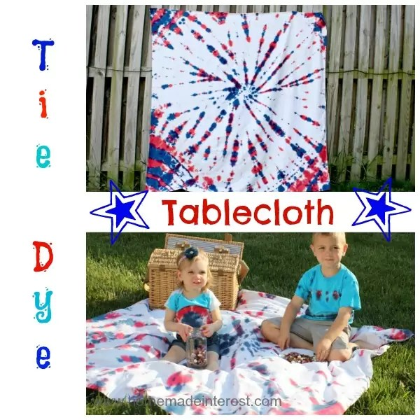 Celebrate 4th of July with a picnic using this tie dye tablecloth. You can use it as a red, white, and blue picnic blanket, or put it on your 4th of July dinner table for your party!