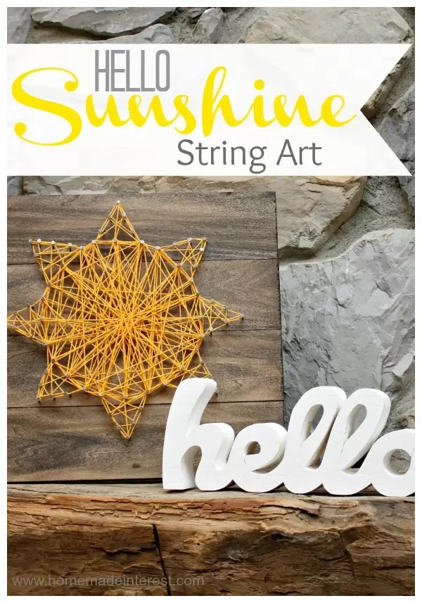 I love string art! Especially this summer string art! This bright yellow sunshine on a wood background is simple to make and a fun summer decoration for your home.