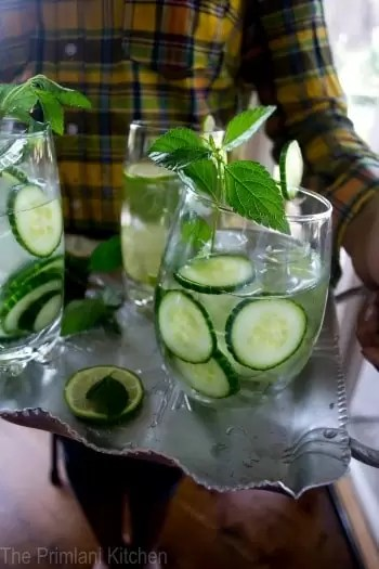Cucumbers, Lime & Mint Infused Water