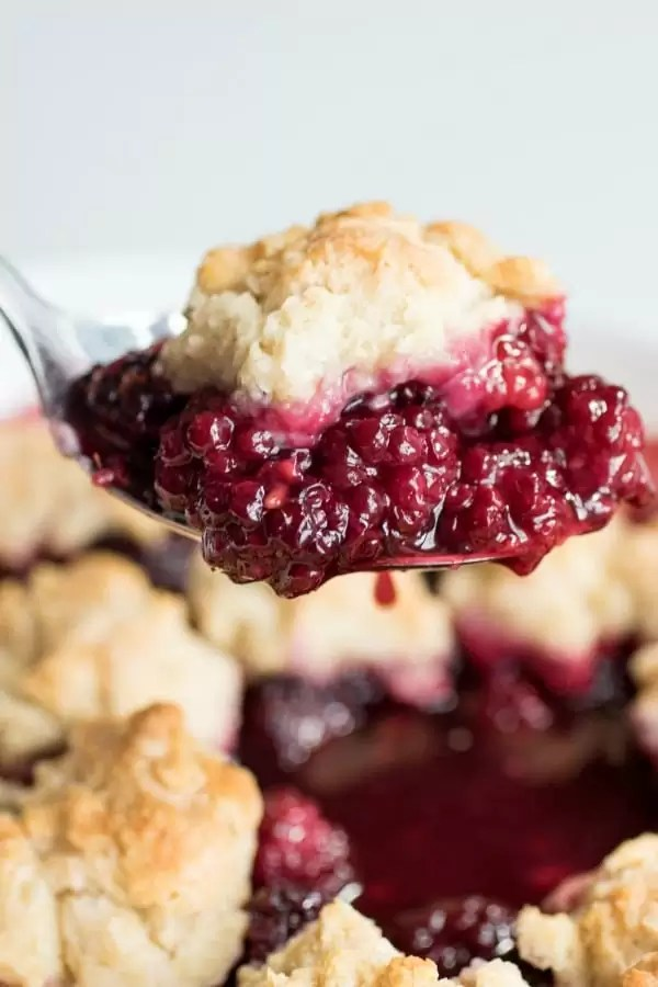 A spoonful of blackberry cobbler