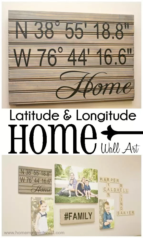 Latitude and Longitude {Home} Wall Art makes a great housewarming gift for any new home owner. You can even for coordinates of a favorite travel spot too.