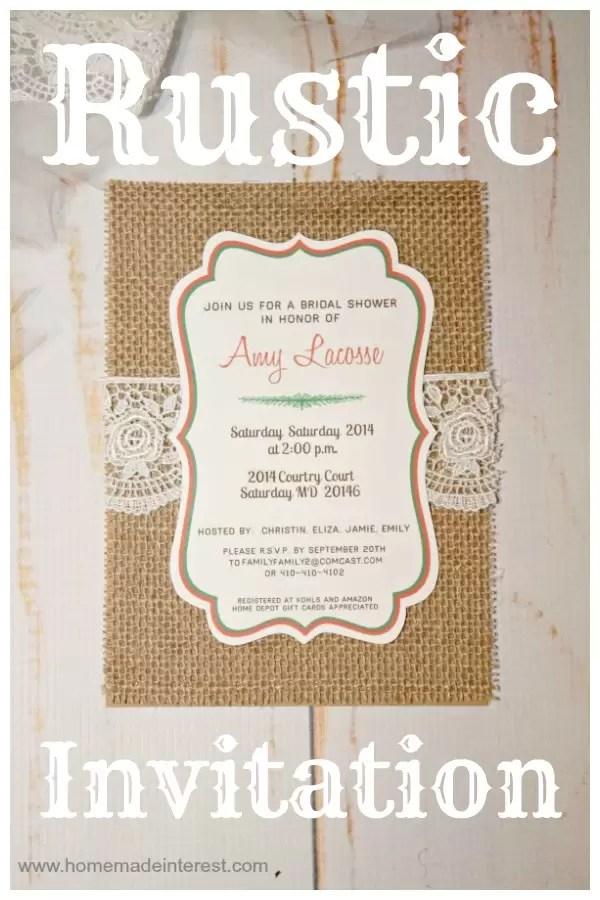 Rustic Invitations {www.homemadeinterest.com