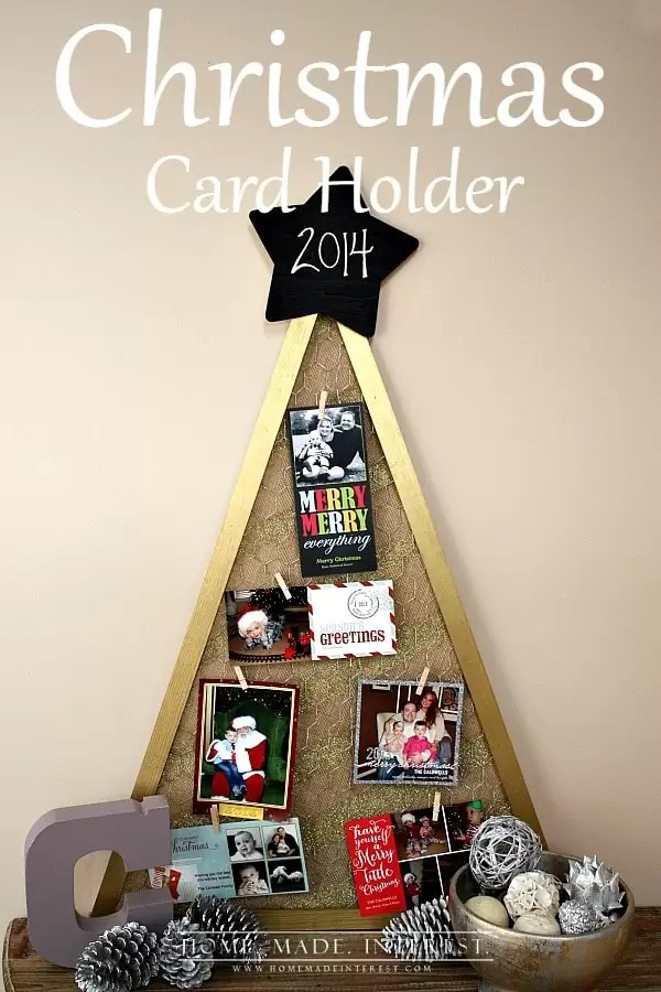 We get a lot of Christmas cards during the holidays so this year we made this simple diy Rustic Christmas card holder. It is an easy Christmas tree shaped craft made with chicken wire, burlap and a little gold paint and glitter to give it some glam. It even has a chalkboard star on top so you can change the year!