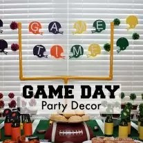 Are you planning on having a big super bowl party this year? Here is a SIMPLE tutorial on how to make a table football field goal as a simple game day decoration for your next football party!