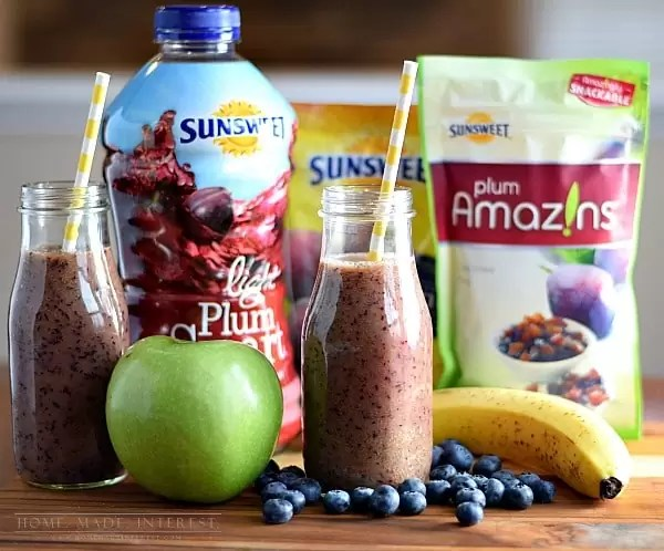 Healthy smoothie recipe that is kid-friendly. Your kids will love this smoothie recipe made with blueberries, apples, and bananas. They won't even realize that you've added Sunsweet Prune juice!