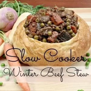 Beef stew in a bread bowl is even better when it is made in a slow cooker. This crock pot beef stew recipe will save you time and warm you up on cold winter nights!