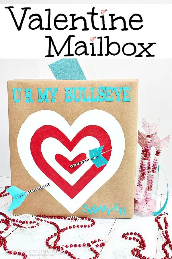 Make a crafty Valentine's Day box to hold all the valentines your kids will get at school. Upcycle items around the house to make this cupid's arrow target with an attached quiver to hold the valentines you will be handing out.