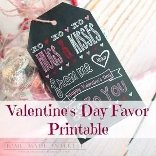 These Valentine's Day printables can be personalized with the name of all of your kids' friends! Attach them to a bag of chocolate hugs and kisses and you have a Valentine's Day favor that everyone will love.