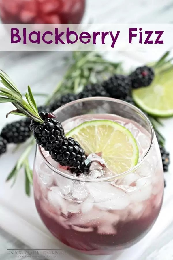 This Blackberry fizz is a fun alcoholic drink recipe is made with blackberries and Canada Dry Ginger Ale® fancied up with a blackberry and rosemary skewer. Beautiful and delicious!