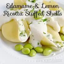 Edamame paired with lemon ricotta cheese is the perfect substitute for meat in these vegetarian stuffed shells with a cauliflower sauce.