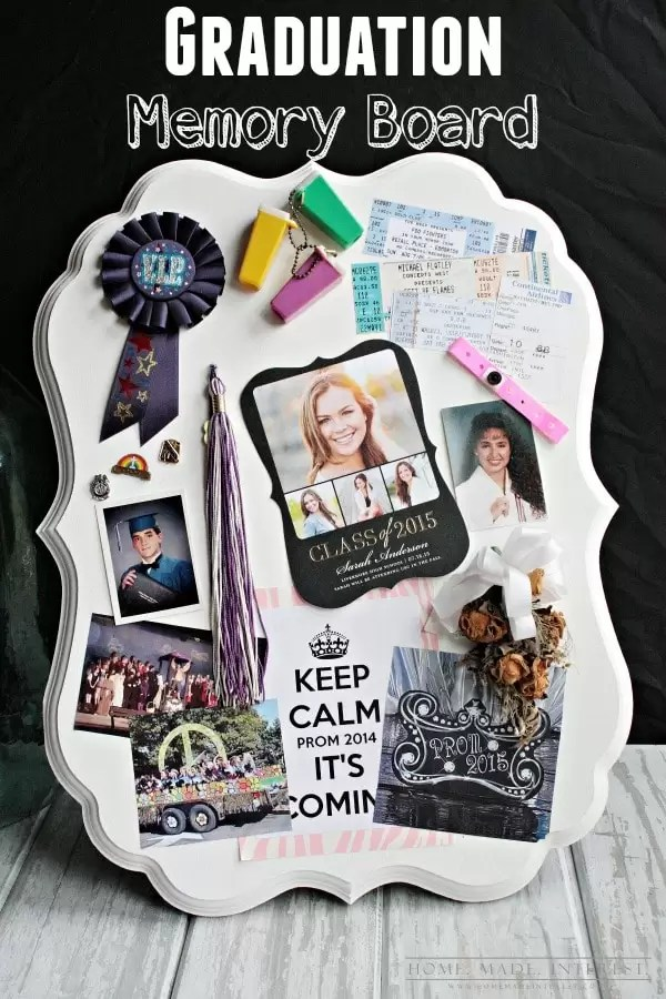This graduation memory board is a simple DIY craft to display high school or college memories. A great personalized graduation gift!