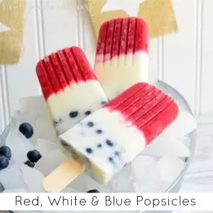 These are a delicious, cool treat on a hot 4th of July day! Celebrate this summer with these all natural, fruit and yogurt popsicles. My kids love them!