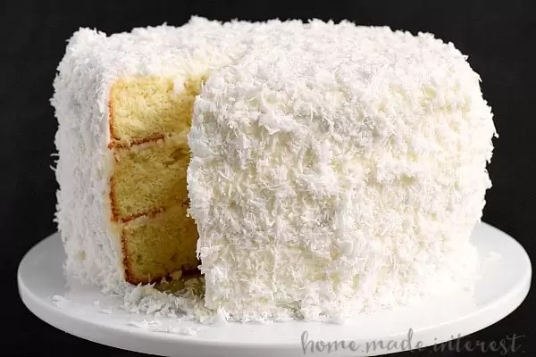Coconut cake made with boxed cake mix and fresh coconut