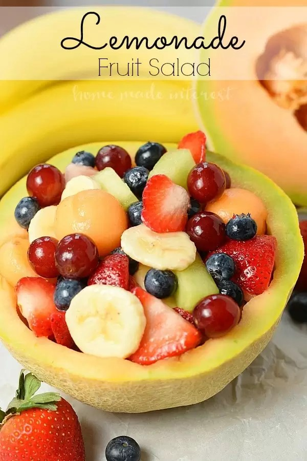 Whether it is for a Mother's Day brunch or a summer picnic this Lemonade Fruit salad is the perfect fruit salad recipe to share with friends and family. The fruit is sweetened with lemonade that keeps the fruit from turning brown. It's perfect for summer picnics and a healthy snack for the kids.