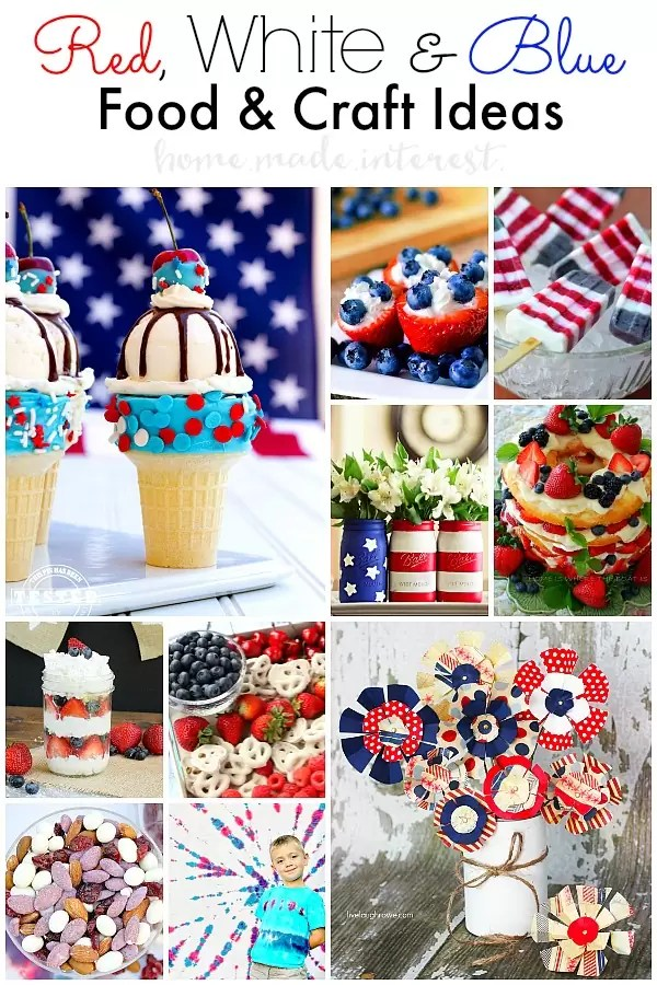 Celebrate with red, white and blue foods and crafts this July 4th, Memorial Day, or Labor. Festive treats & crafts for everyone to enjoy including the kids.
