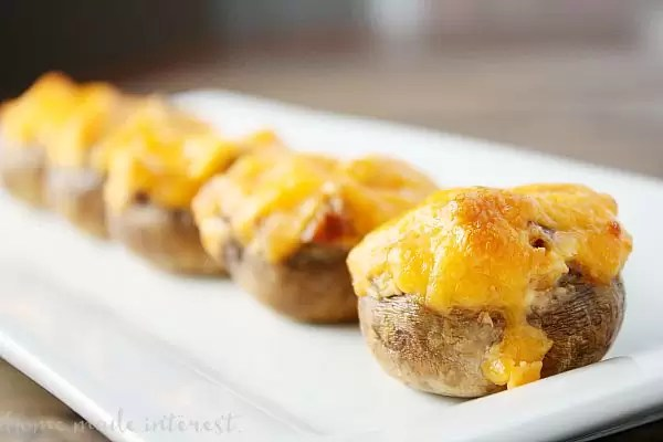 This simple mushroom appetizer is filled with cheese and chorizo.