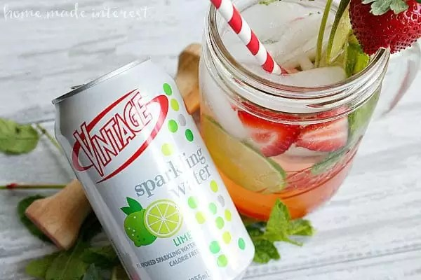 Fresh and bubbly, this Strawberry Mojito Sparkling water has all of the flavors of a mojito without the alcohol.