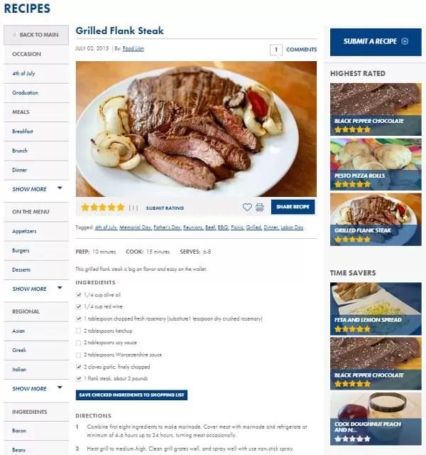 New Food Lion Recipe Portal