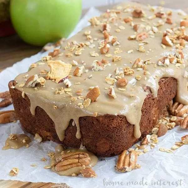 This bread tastes just like apple pie! It is cinnamon-y and sweet, with crunchy caramel granola pieces baked inside. A great recipe for Fall.