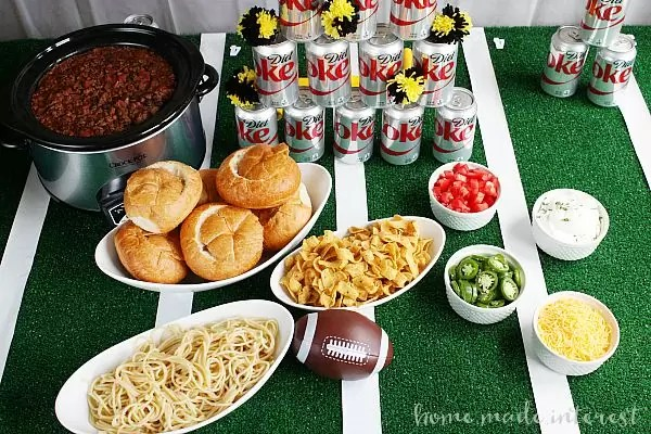 There is no better way to feed a hungry crowd on game day than a build your own chili bar! Guests can pick what foods to pair their chili with for their own custom meal!