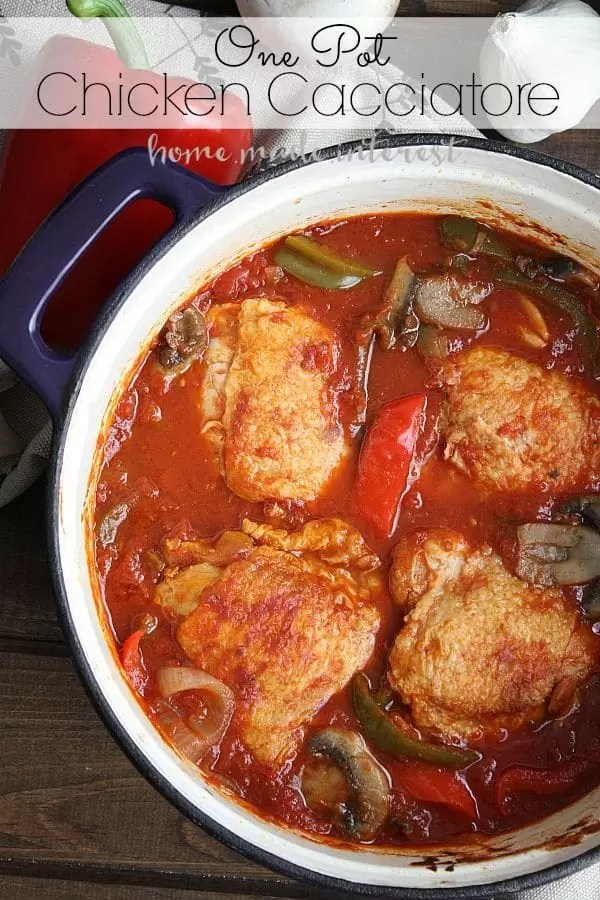 This easy one pot Chicken Cacciatore recipe is a great fall or winter recipe made in a dutch oven that you can make ahead of time and heat up for a quick dinner.