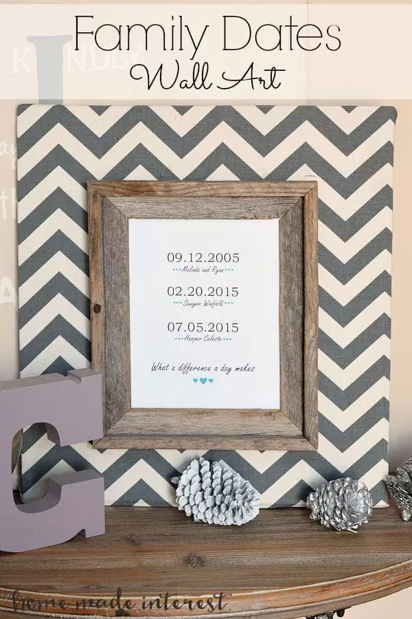 Everyone likes a personalized gift. This family dates frame is made with a simple printable, wood, and fabric. Friends and family will love this diy craft with important family dates. It makes a great Christmas gift, Mother's Day gift, or housewarming gift.