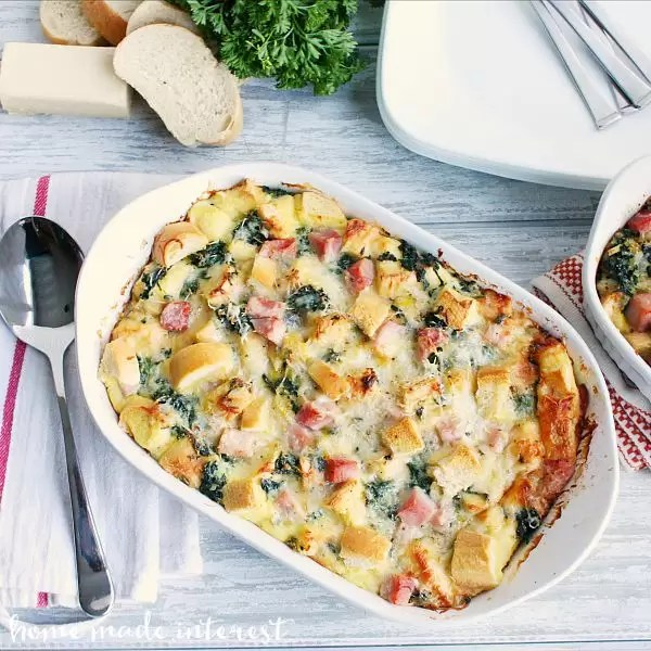 This Gruyère, Ham, and Spinach Strata is a great brunch recipe since it can be made a day ahead of time and baked the morning of the brunch. I'm definitely adding it to my holiday brunch menu.